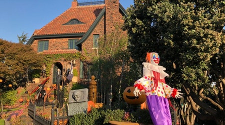 """Ghouls, clowns, and a grave for """"Kellyanne Conwoman"""": visiting a Corona Heights Halloween landmark"""
