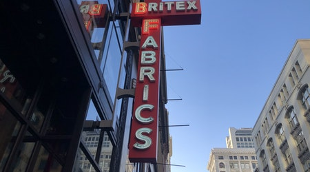 Rejoice! A new Britex Fabrics neon sign has gone up in Union Square