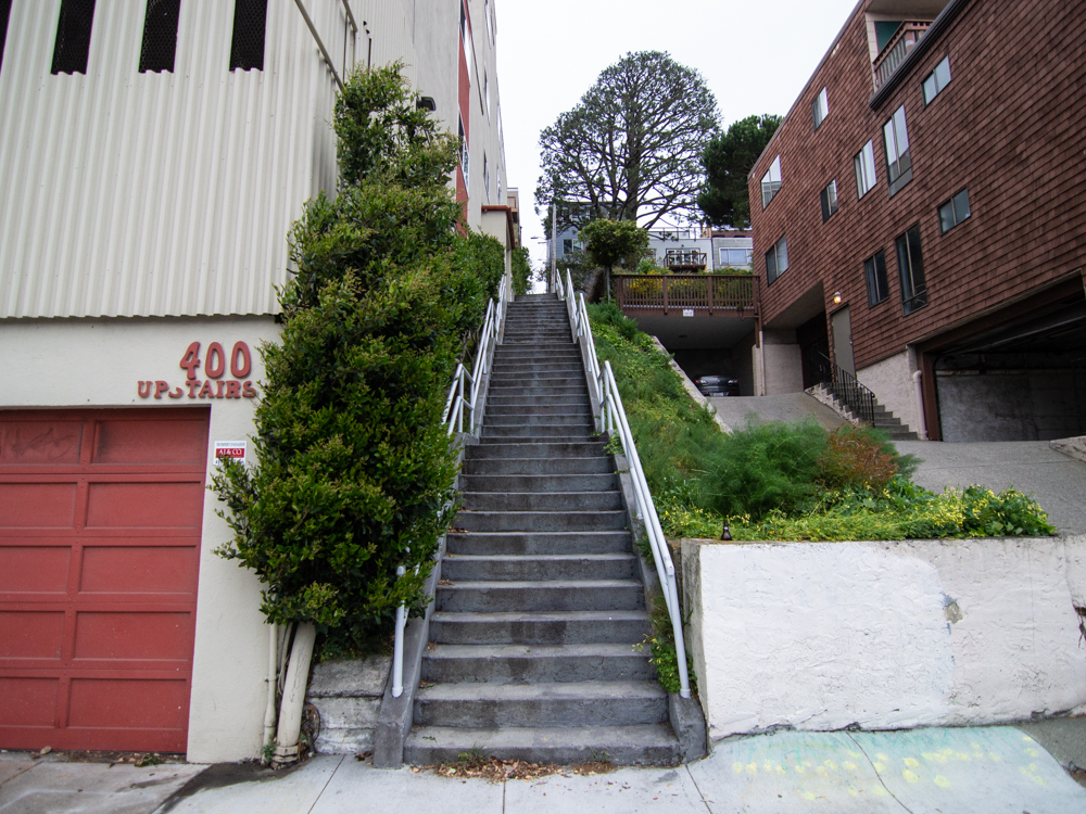 The upper Detroit Steps in March of 2020, prior to landscaping | Photo: Nikki Collister/Hoodline