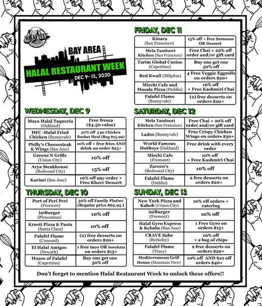 Halal Restaurant Week schedule