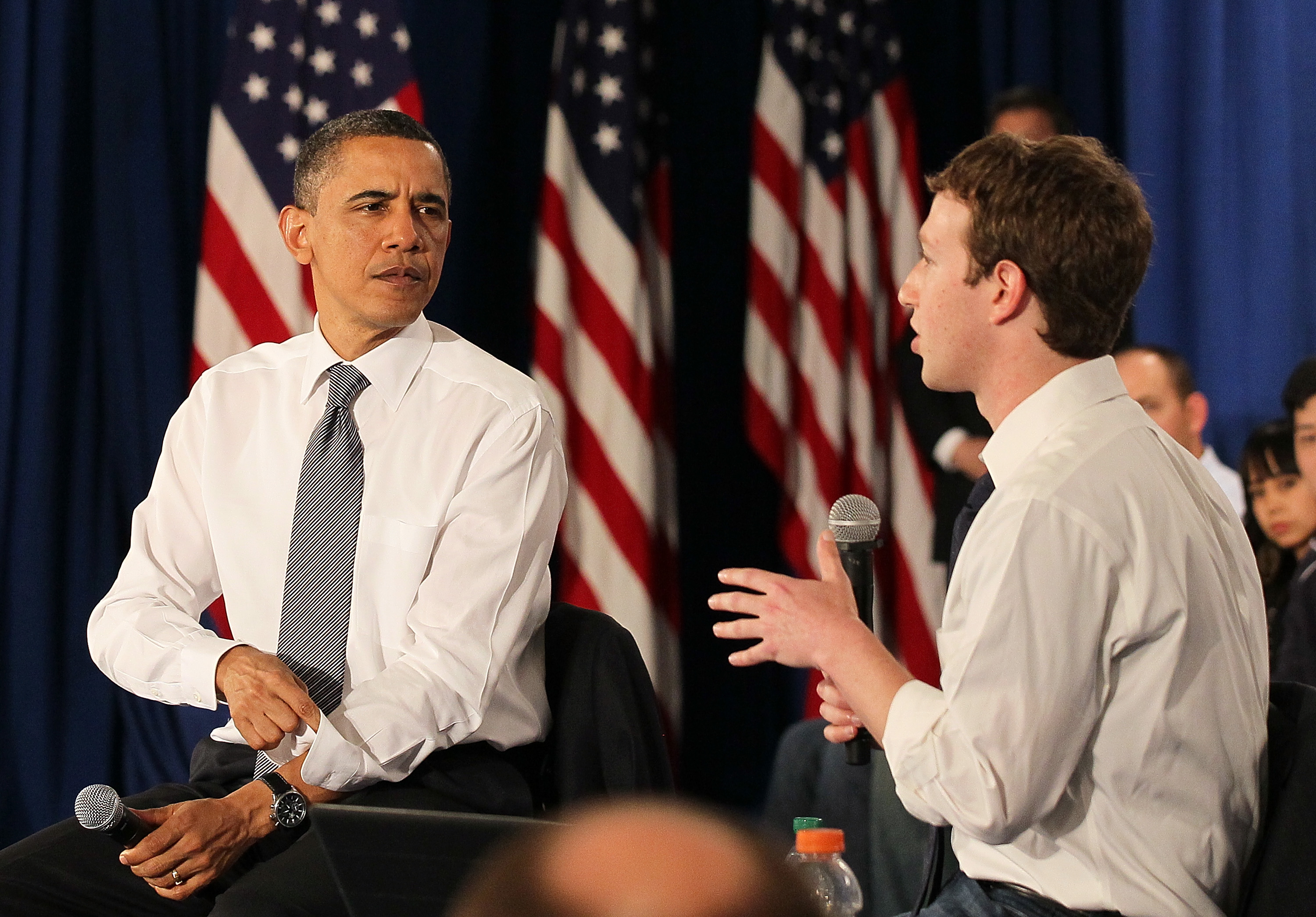 President Obama met with Mark Zuckerberg at Facebook headquarters in 2011 in Palo Alto. |  Justin Sullivan / Getty Images