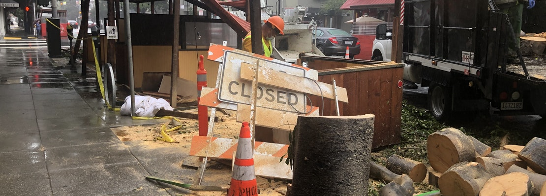 Falling tree demolishes parklet outside Hayes Valley restaurant Absinthe