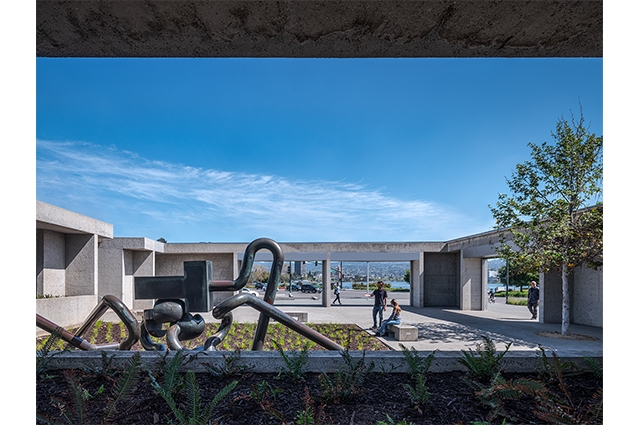 Photo: View from inside OMCA's 12th St entrance, looking out towards Lake Merritt and Mr. Ishi sculpture by Peter Voulkos  ©2021 Tim Griffith. All rights reserved.