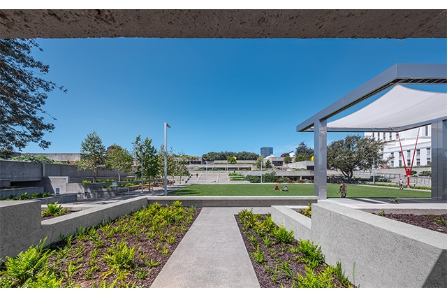 Photo: View of OMCA's refreshed tiered gardens (left and central) and new stage (right).  ©2021 Tim Griffith. All rights reserved.
