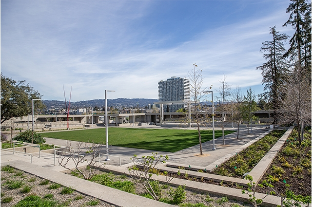 Photo: View of OMCA's refreshed tiered gardens and new stage. Odell Hussey Photography, Courtesy of Oakland Museum of California.
