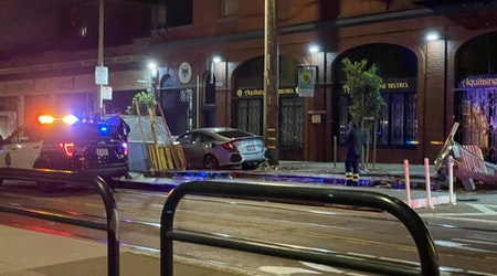 Driver crashes into and destroys parklets at Aquitaine & The Boombox