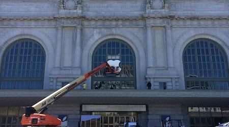 Giant Apple Logo Going Up At Bill Graham Civic Auditorium
