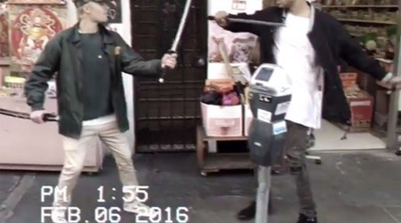 Justin Bieber Visits Chinatown, Plays With Sword, Runs In Street