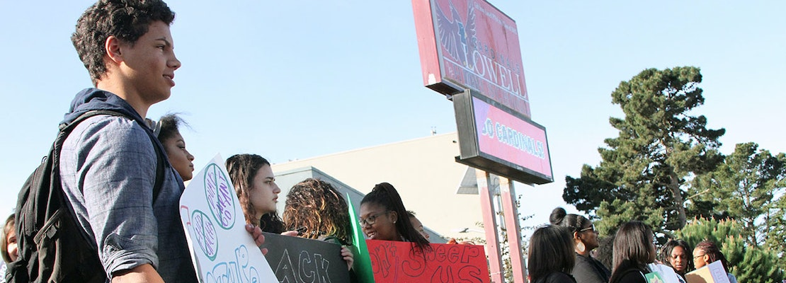 Protesting Racist Incidents, Lowell High School Students Walk Out