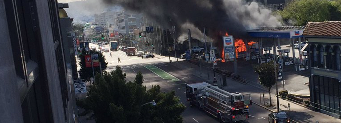 Bus Fire Leads To Flames, Explosions At 9th & Howard Gas Station [Updated]