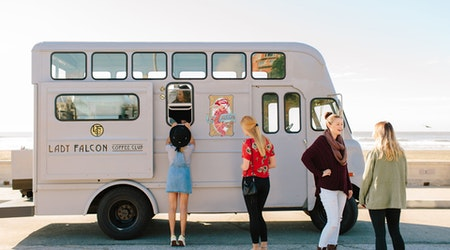 With Vintage Truck, 'Lady Falcon' Offers Hand-Roasted Coffees By The Sea