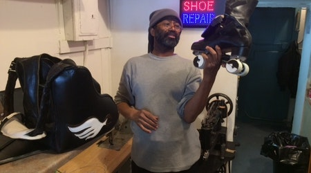 With 50 Years of Experience, Roller-Skating Shoemaker Sets Up 'Shoe Repair'