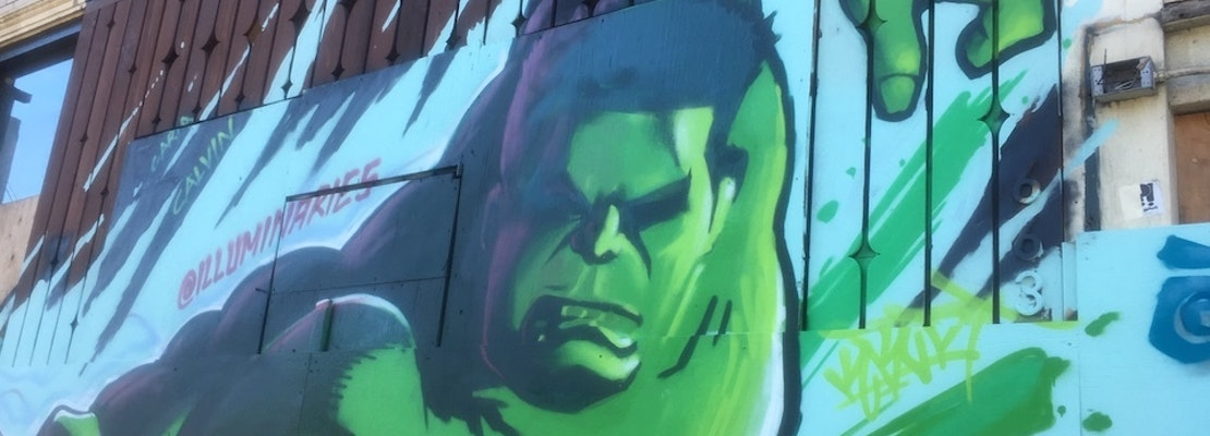 Graffiti murals of Marvel heroes revive North Beach building destroyed by fire