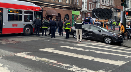 38-Geary bus collides with sedan in Tenderloin, injuring bus driver