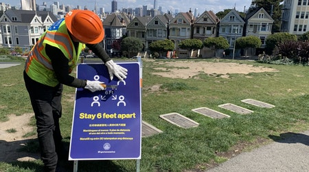 Social distancing in SF: Signs warn parkgoers to stay apart, Muni to monitor passenger thresholds