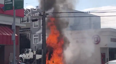 City's street sweeping vehicle catches fire in the Outer Sunset
