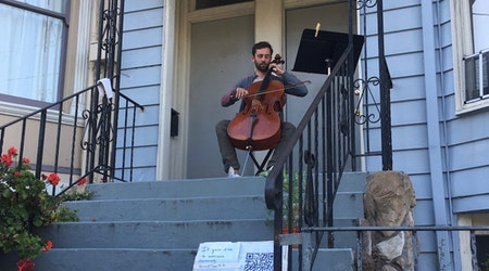 From front-porch perch, professional cellist serenades Page Street neighbors