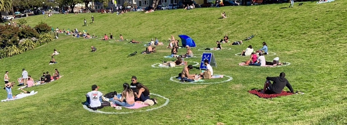 Social-distancing circles expand to more San Francisco parks, as well as 'Gay Beach'