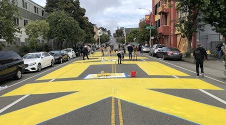 100+ volunteers paint 'Black Lives Matter' in center of San Francisco street