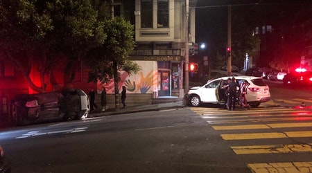 Vehicle overturns after collision at Oak and Buchanan [Updated]